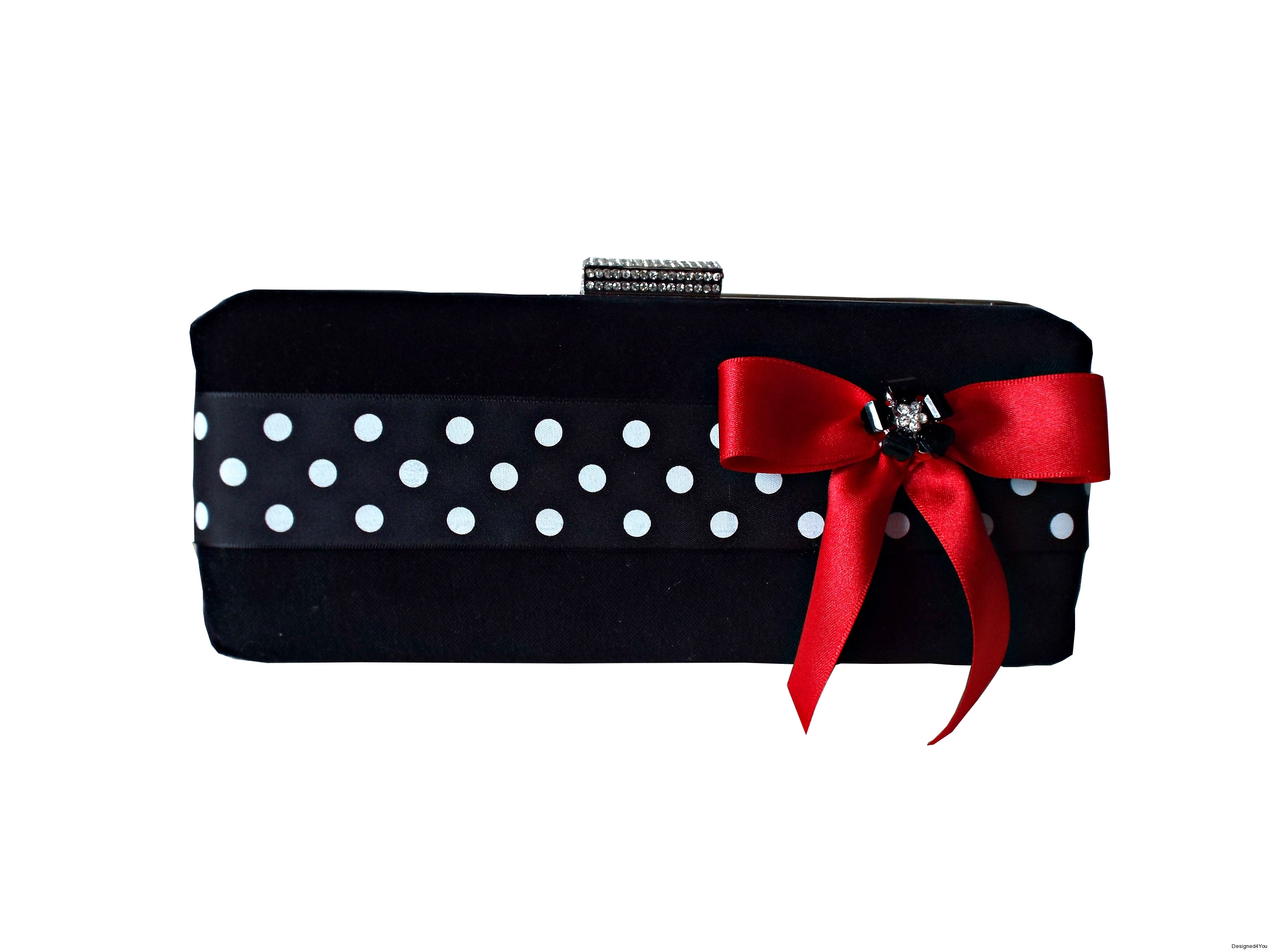 Sophia Handmade Clutch Black polka dot red bow