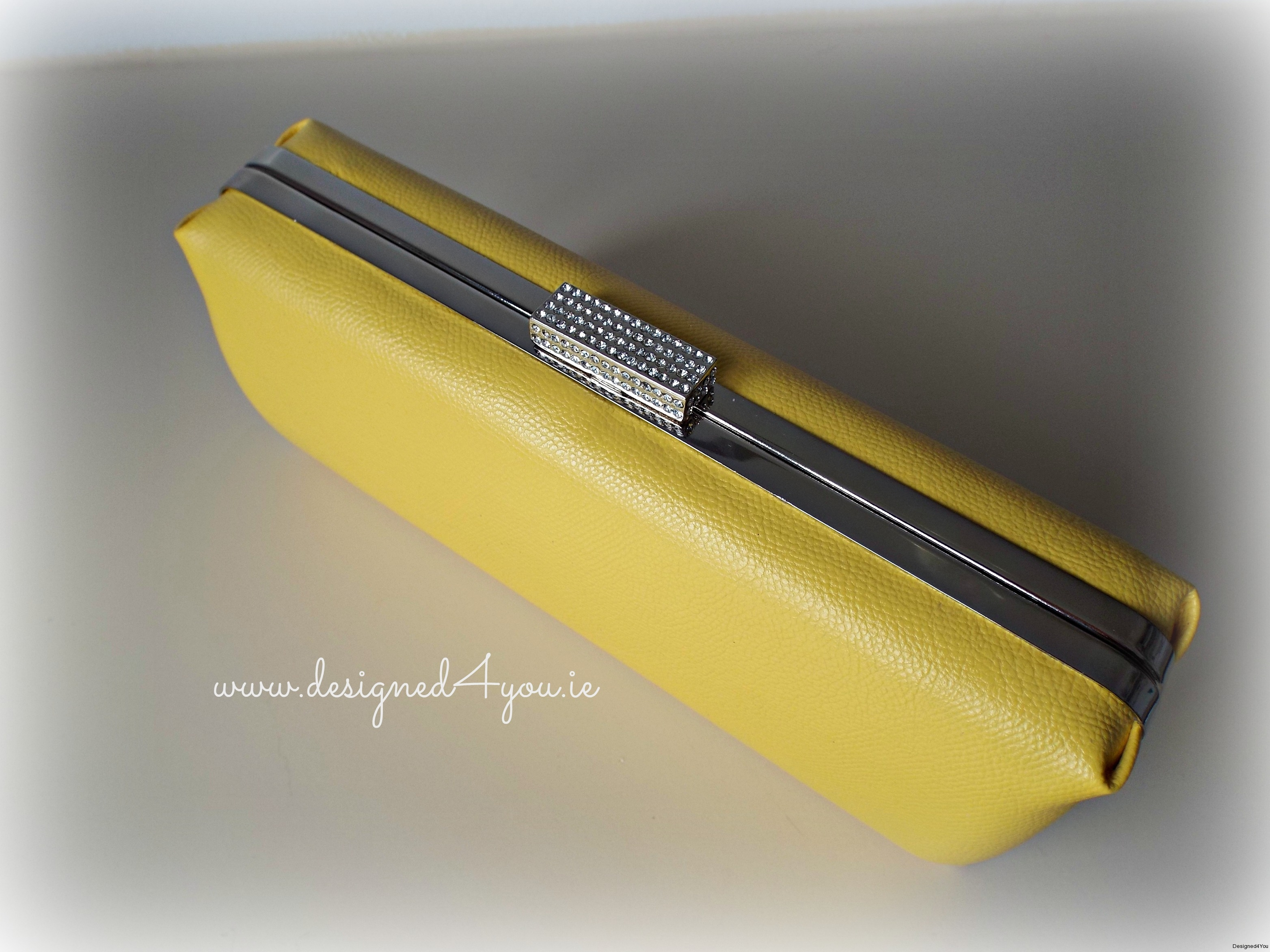 Sophia Handmade Clutch - Yellow Mustard Faux Leather
