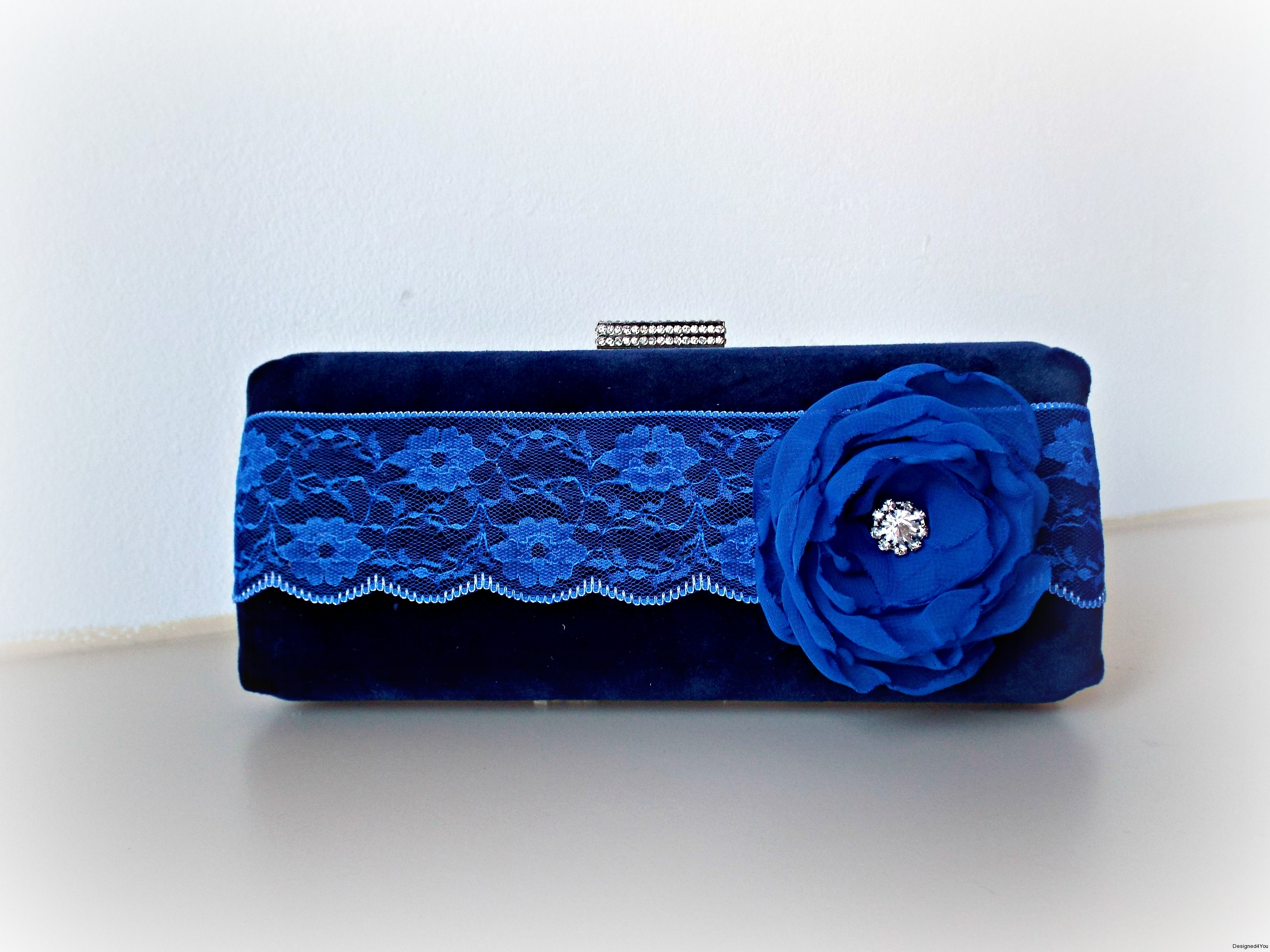 Sophia Handmade Clutch with blue lace & flower