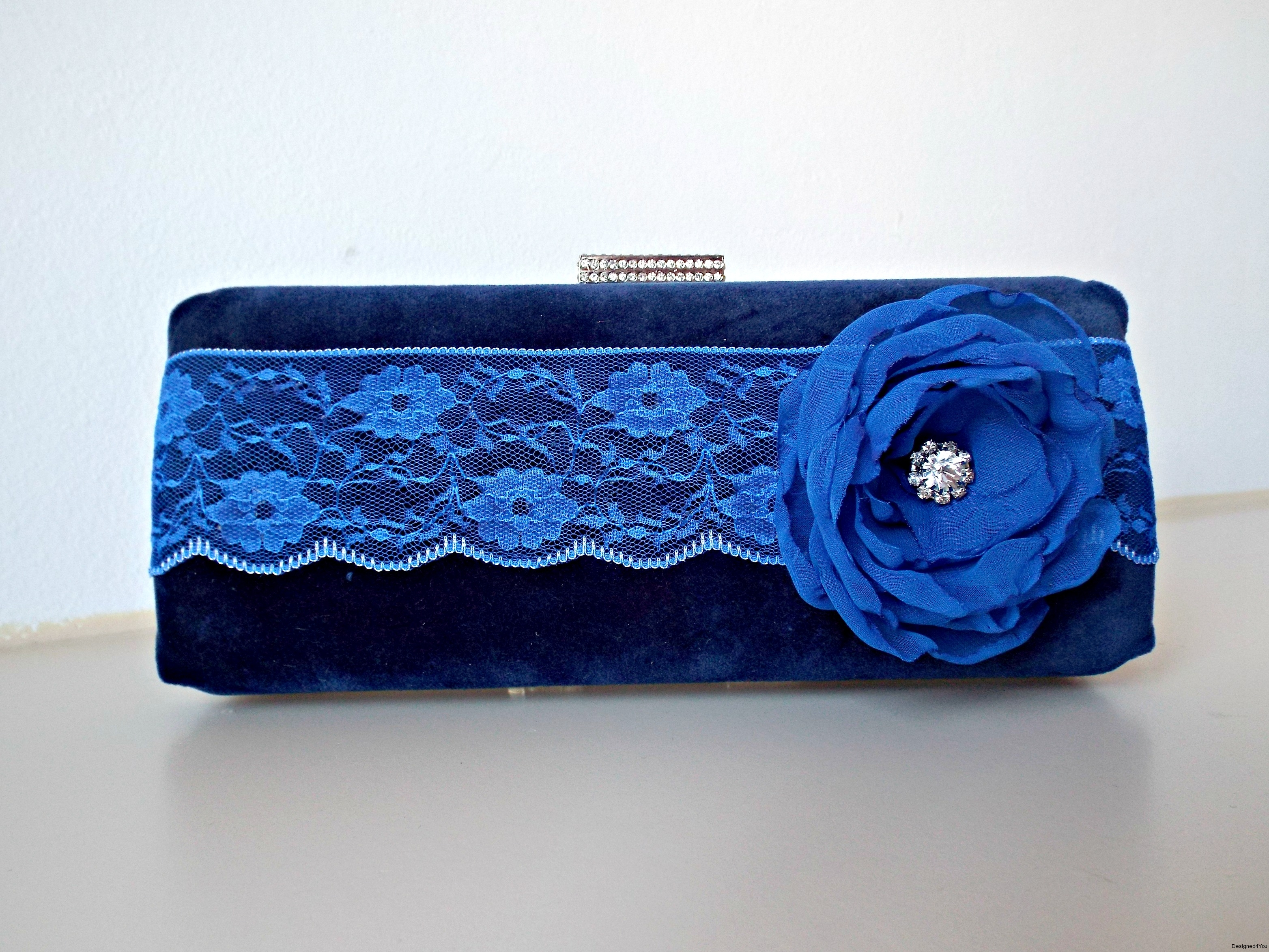 Sophia Navy Velvet with flower