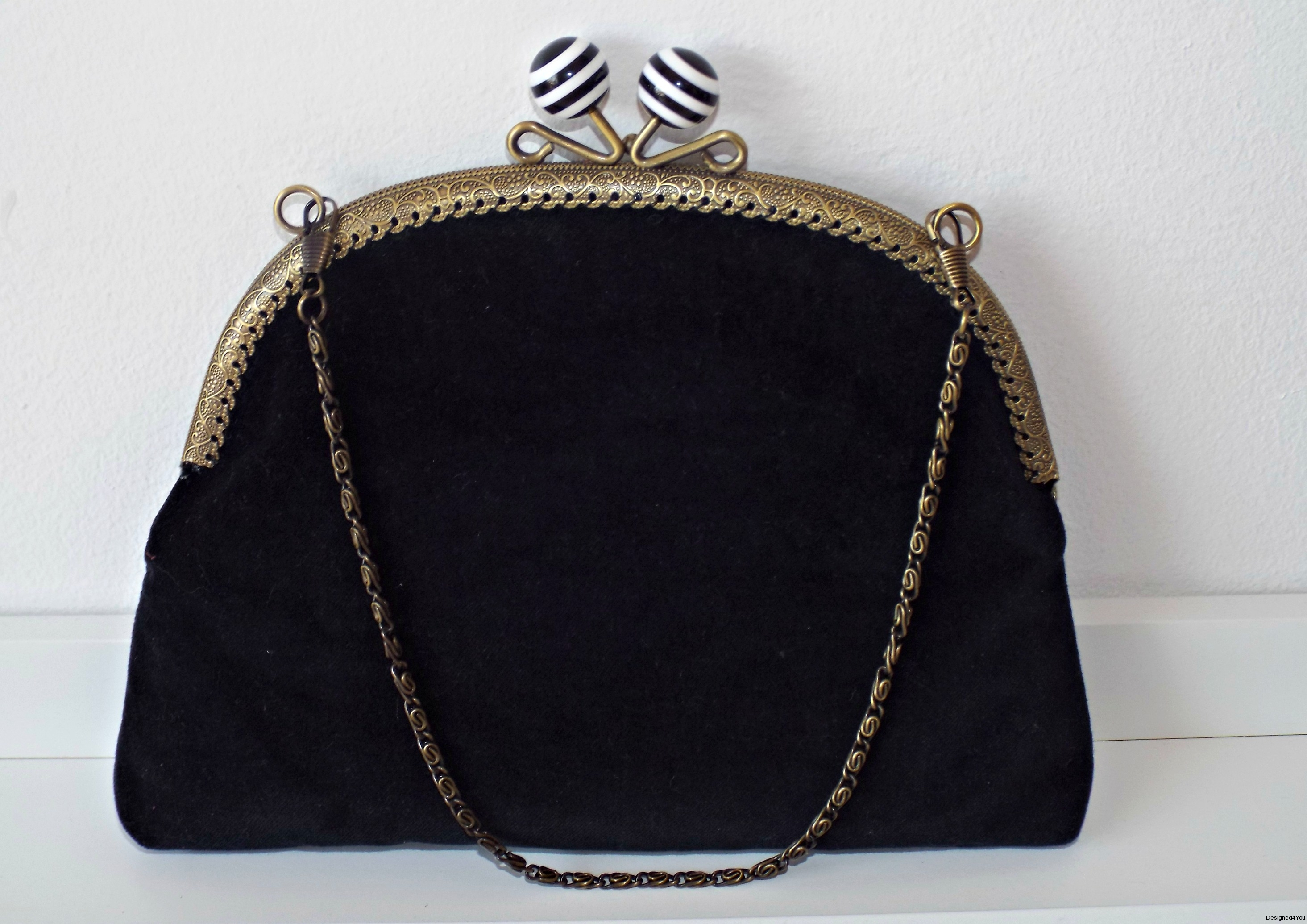 Vintage 1920s purse custom made black velvet