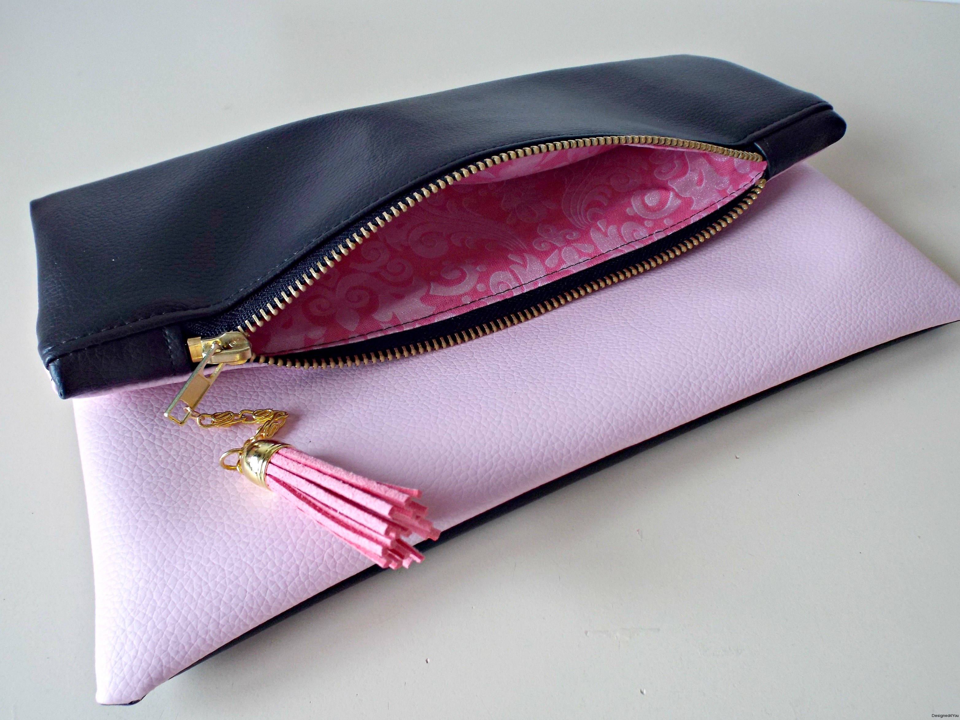 Zipper Interior, pink & black handmade clutch in Ireland