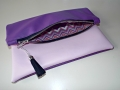 Zipper clutch - pink purple leather handmade bag