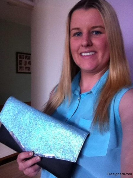 Glitter clutch bag, custom made by Designed 4 You