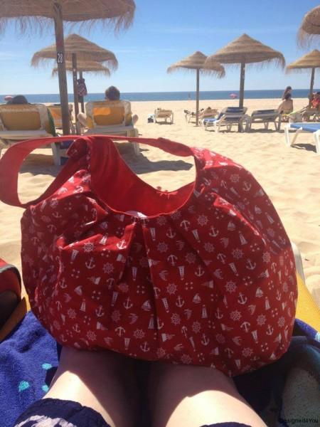 Red Nautical Beach Bag