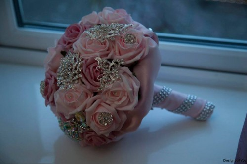Pink heirloom bouquet with brooches, handmade in ireland