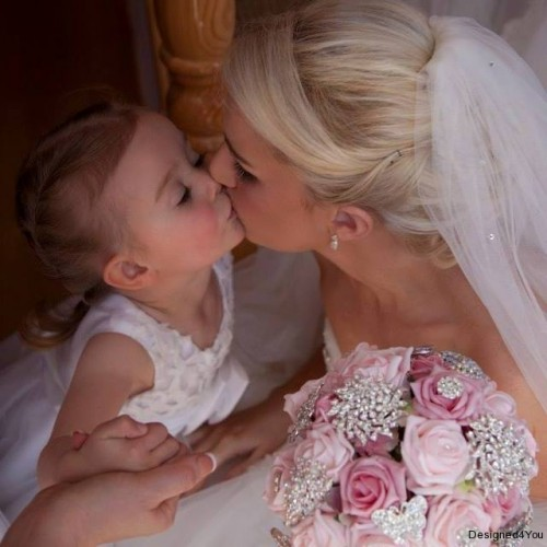 Bridal Bouquet, Bride & Flower girl with Pink heirloom bouquet