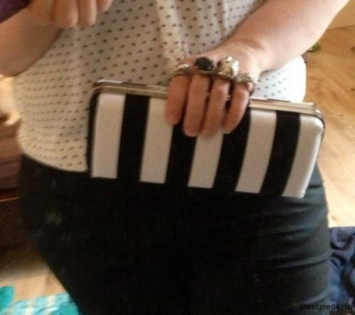 Monochrome Stripe clutch bag, made in Ireland, Skull frame