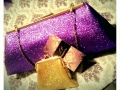 Glitter Clutch bags Purple & Gold Sparkle