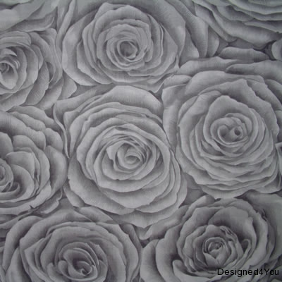 Grey Roses Fabric