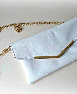 Bella Envelope Clutch White Leather Handmade Ireland