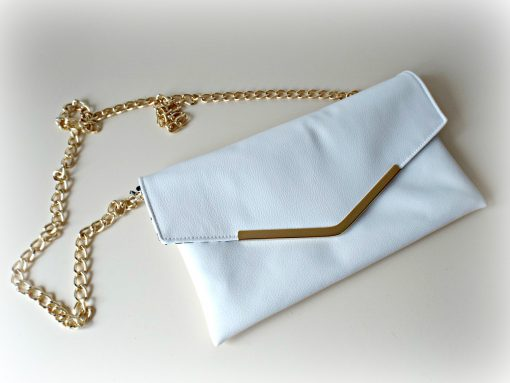 Bella Envelope Clutch White Leather Handmade Ireland