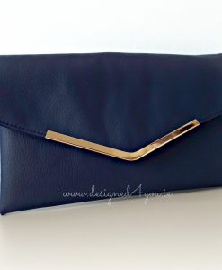 Bella Handmade Leather Clutch in navy