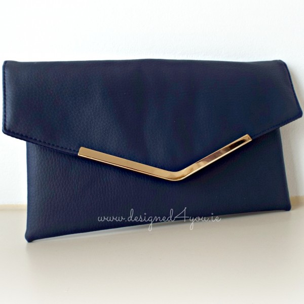 Bella Handmade Leather Clutch in navy