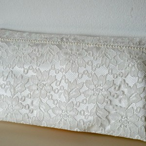 Bridal Lace Clutch Pearl Detail handmade ireland