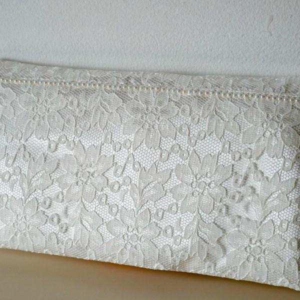 Bridal Lace Clutch Pearl Detail handmade ireland