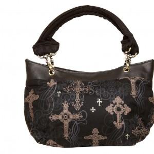 Destiny Handbag, Irish - Handmade to Order - Ornate Crosses Fabric Ireland