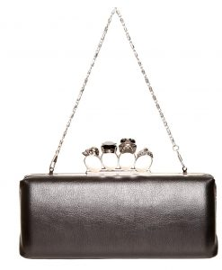 Gothica Handmade Clutch with Skull Clasp. Black Leather Fabric Ireland Silver Chain