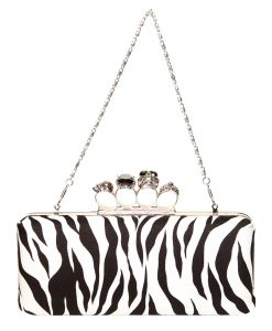 Gothica Handmade Clutch with Skull Clasp. Zebra Print Fabric Silver Chain Ireland