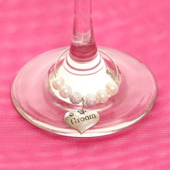 Wedding wine glass charms groom
