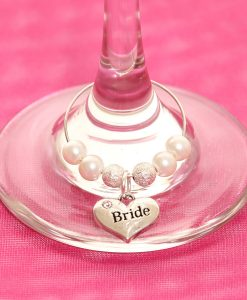 Wedding table wine glass charms, Bride