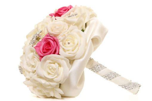 Bridal Brooch Bouquet handmade, Ivory & Pink Roses