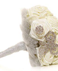 Satin Roses Ivory posy handmade