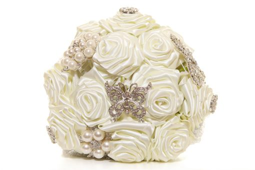 Satin Ribbon Roses Ivory Bouquet
