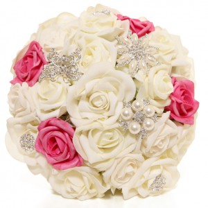Bridal Brooch Bouquet handmade in Ireland, Ivory & Pink Roses