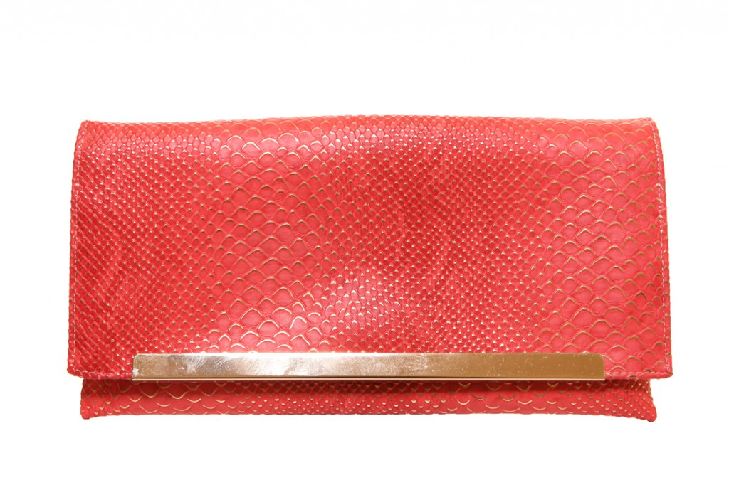 Snake Skin Salmon Handmade Clutch Bag