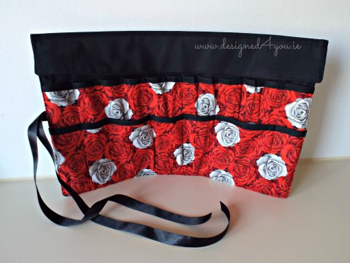 Handmade Make Up brush roll, Red Roses
