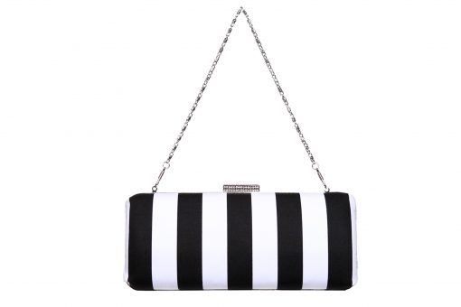 Sophia Handmade Clutch with Diamante Clasp. Monochrome Fabric Ireland