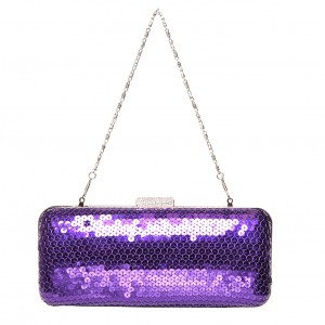 Sophia Handmade Clutch with Diamante Clasp. Purple Roses silver chain - Fabric Ireland