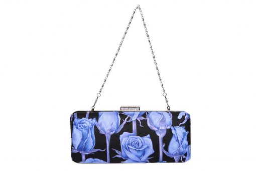 Sophia Handmade Clutch with Diamante Clasp.Blue Roses Silver Chain Ireland