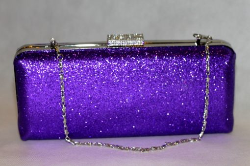 Sophia - Purple glitter clutch bag