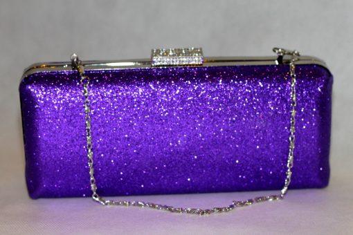 Sophia - Purple glitter clutch bag