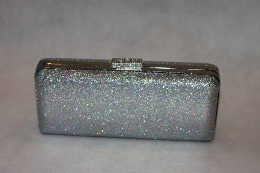 Sophia - Silver Glitter clutch bag