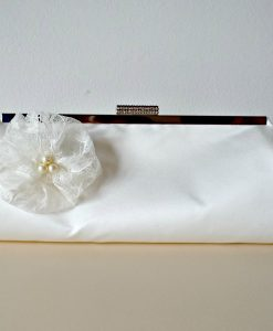 Sophie Bridal Ivory Satin Handmade Clutch with Lace Flower