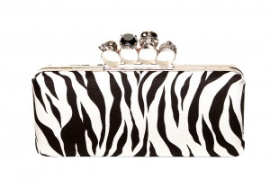 Gothica Handmade Clutch with Skull Clasp. Zebra Print Fabric Ireland