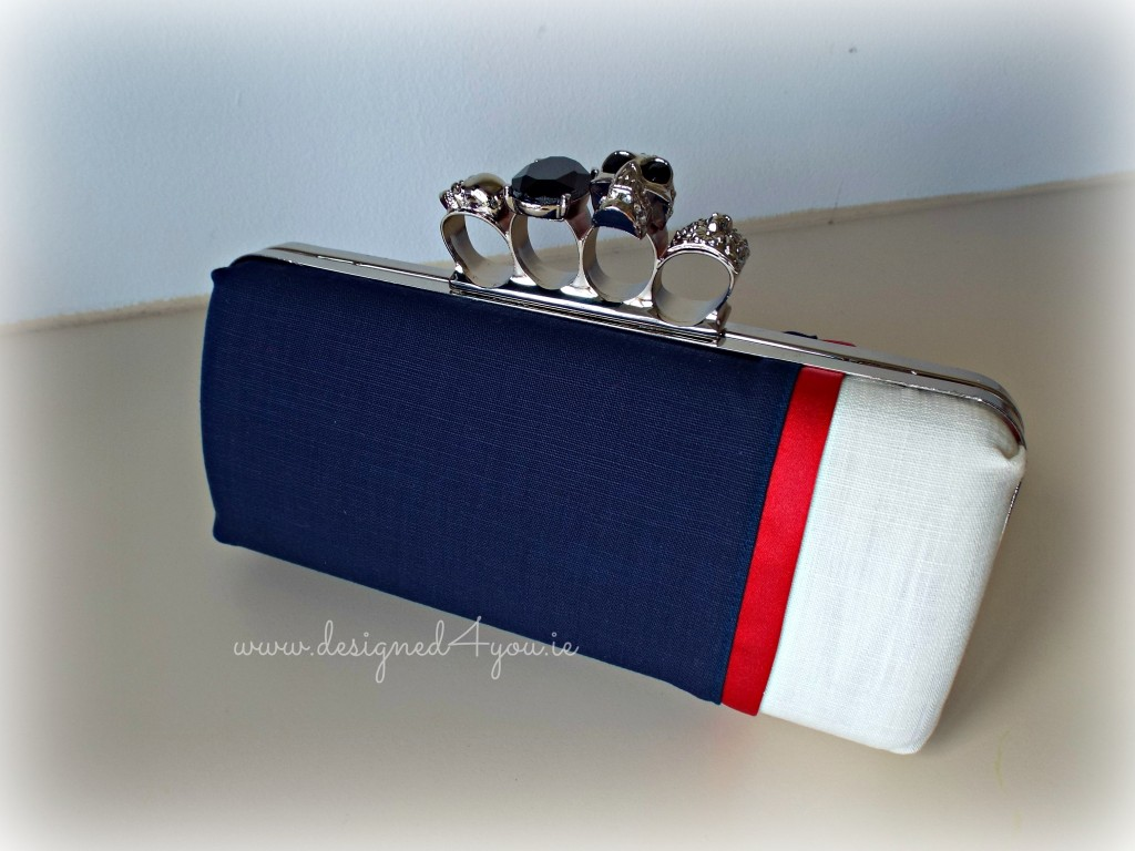 Gothica Clutch Navy Cream Handmade occasional evening wear