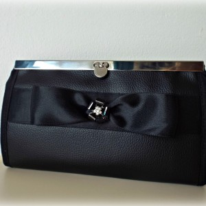 Handmade Wallet Black leather with bow