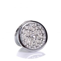 Crystal & pearl compact mirror for wedding