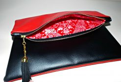Oversized zipper clutch black red, handmade in Ireland