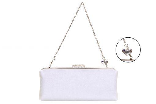 White Glitter Bridal Clutch Handmade in Ireland, wedding bag white