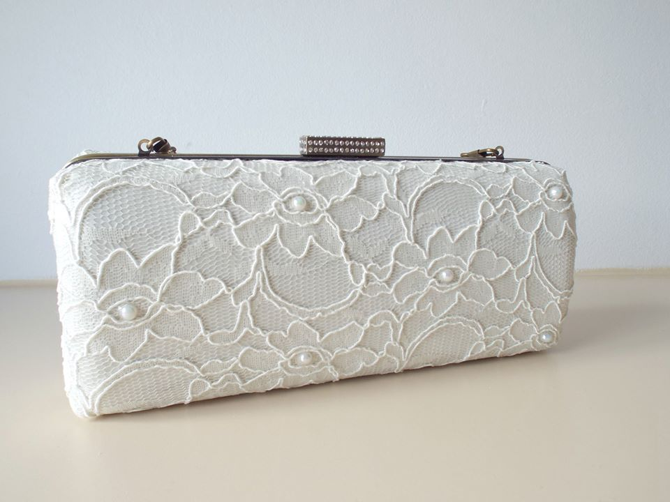 Ivory Lace Bridal Clutch Bag For