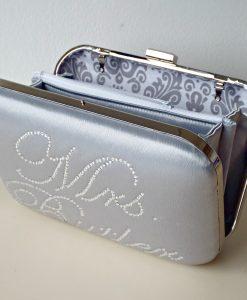 Personalised Bridal Clutch Bag Silver