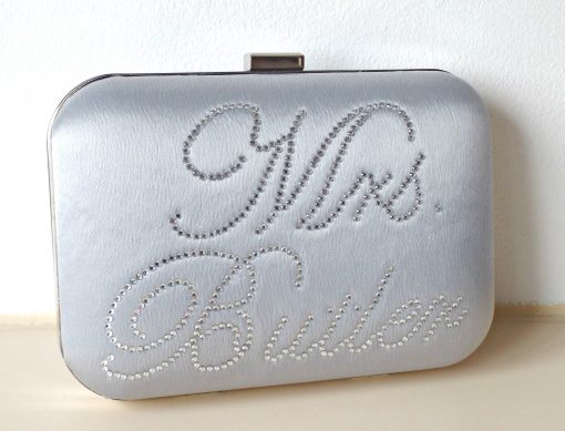Personalised Bridal Clutch Bag silver
