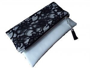 Monochrome black & white lace leather clutch bag