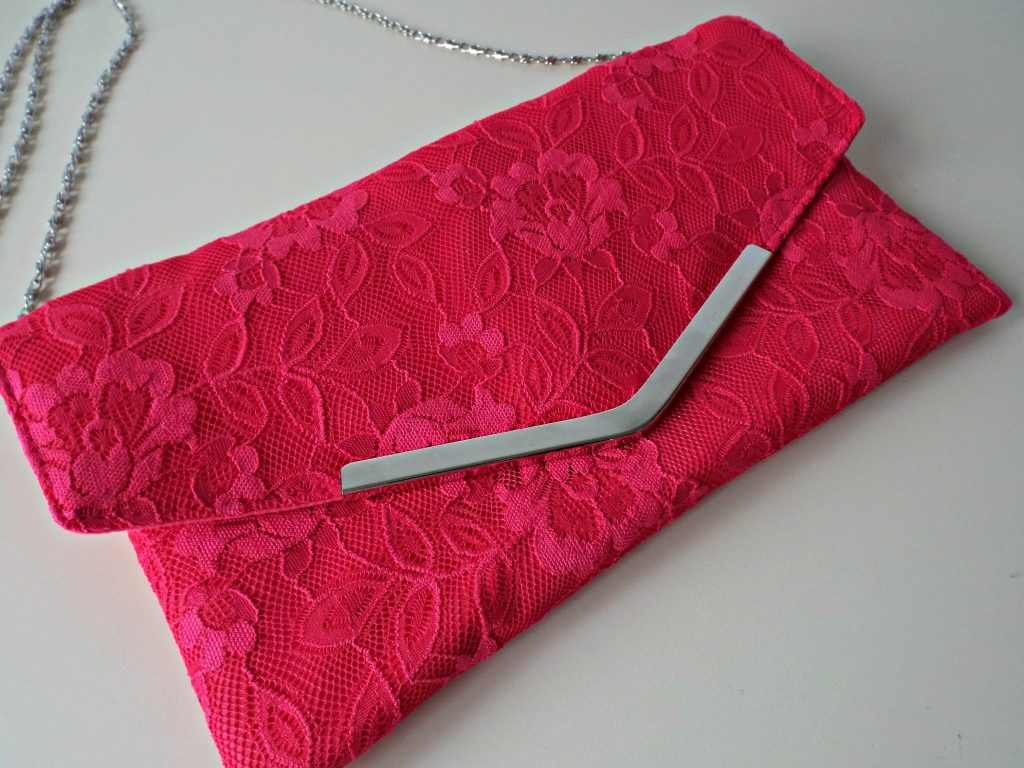 Pink Lace Clutch Bag