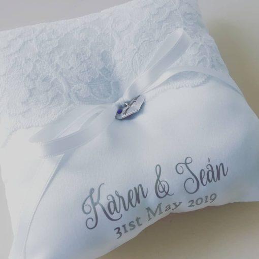Personalised wedding ring pillow
